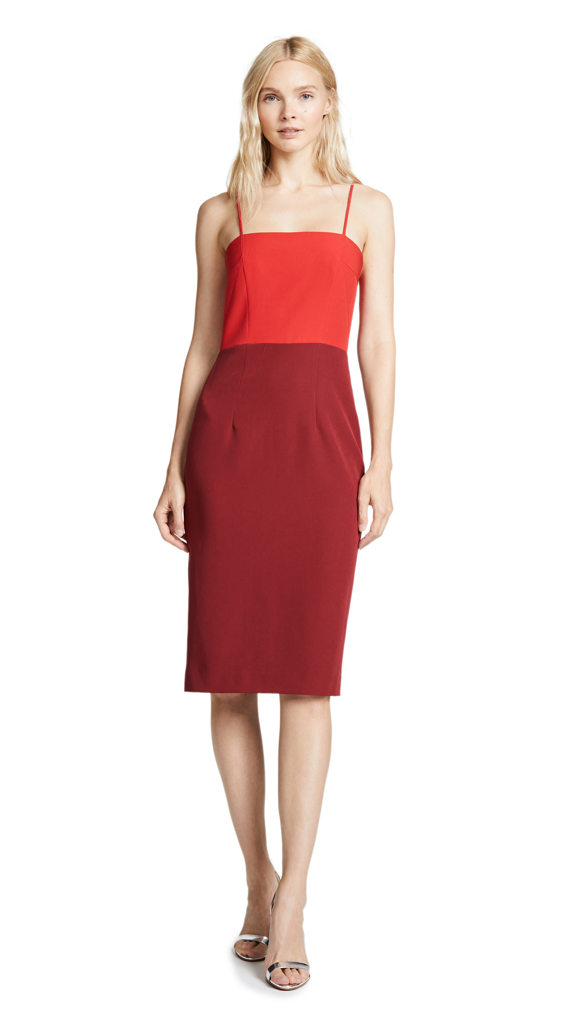 MILLY Italian Cady Pencil Dress in Red