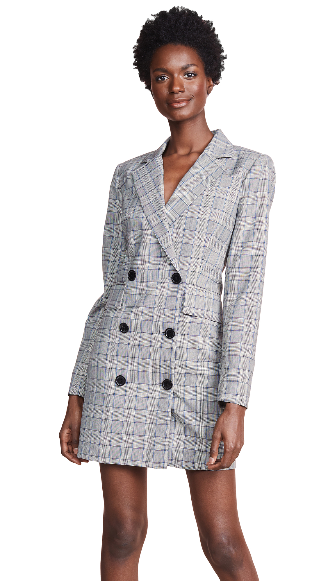 Milly Wool Blazer Dress In Check