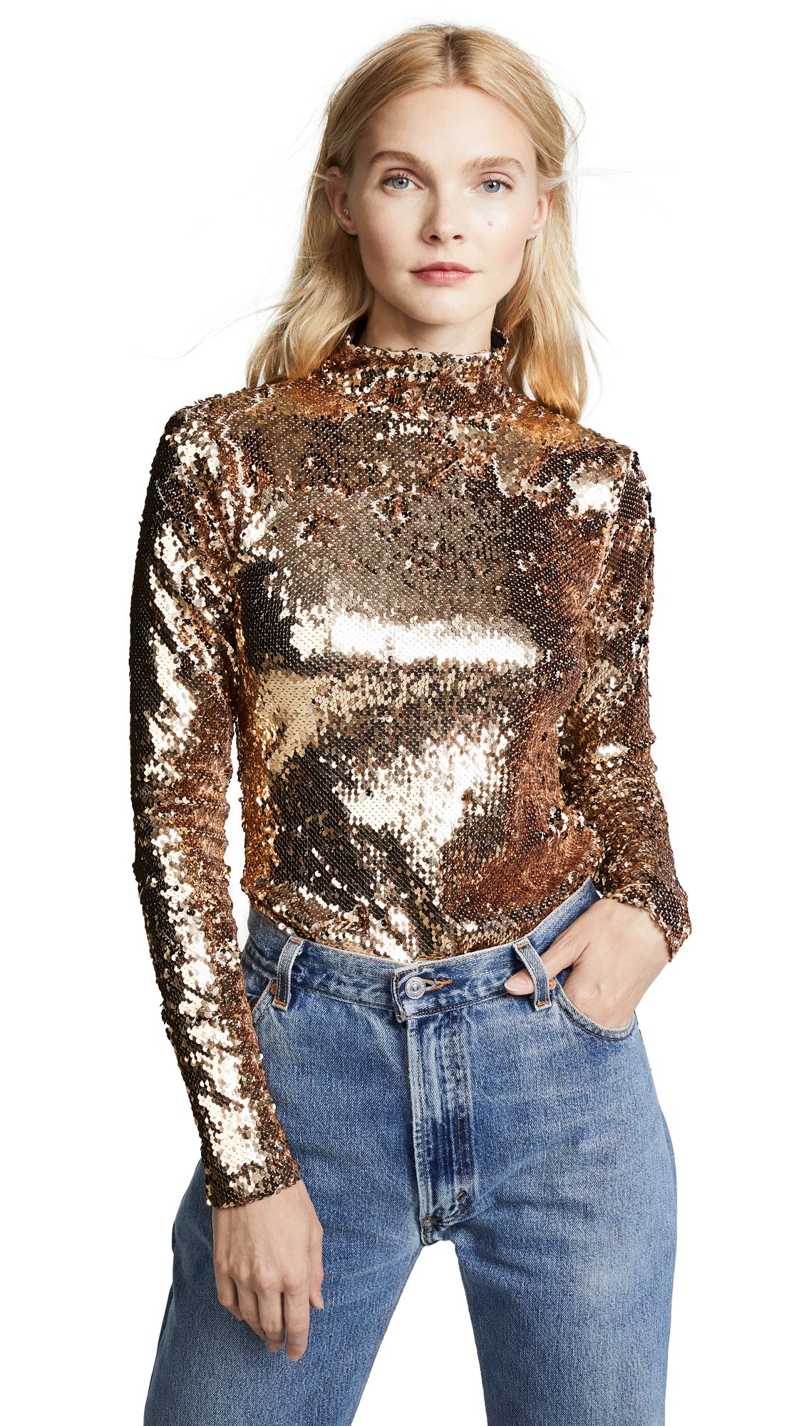 Milly Sequins Turtleneck In Gold