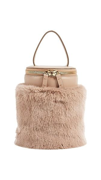 MILMA Detachable Faux Fur Cylinder Bag In Beige