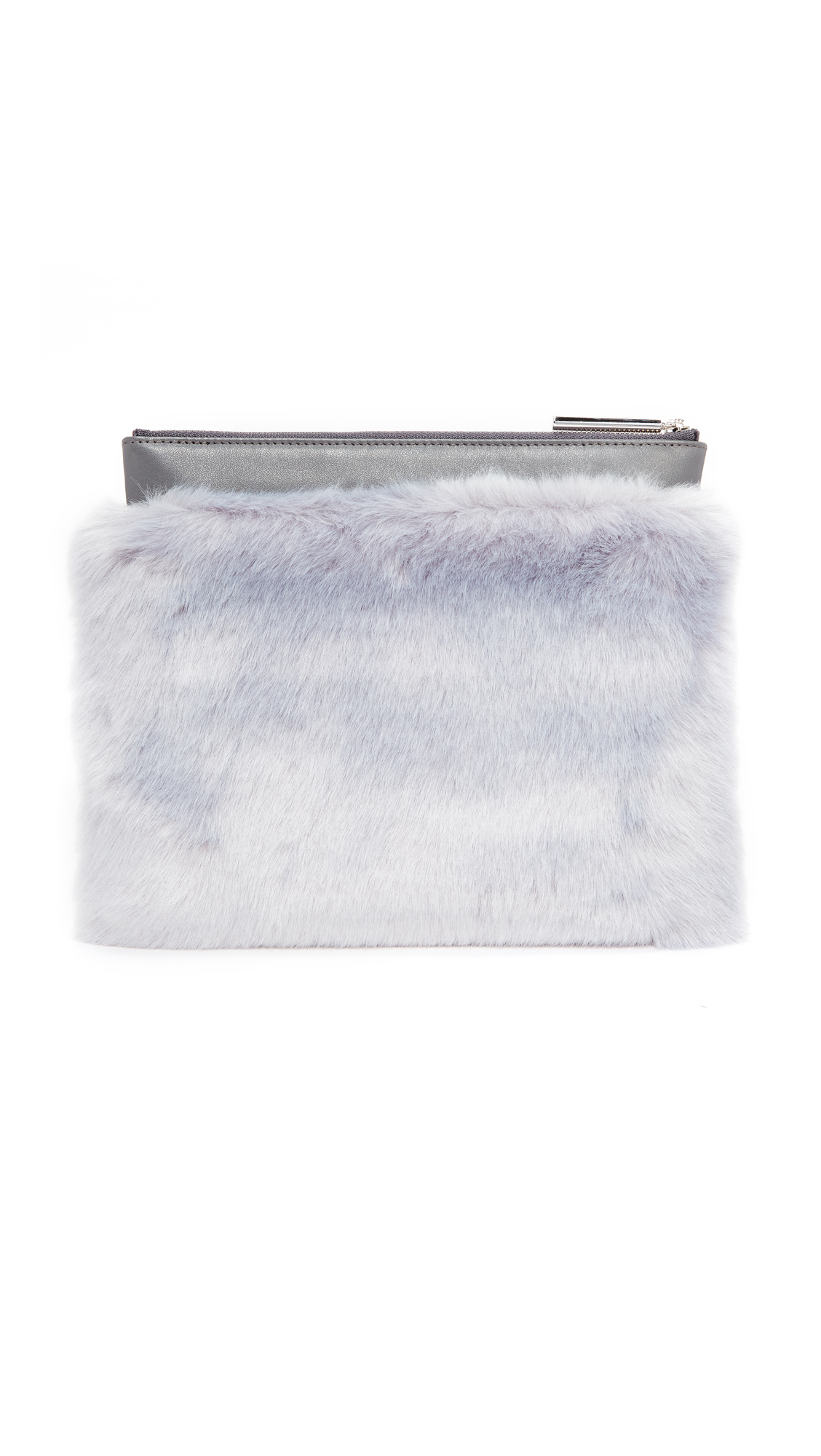 MILMA Detachable Faux Fur Clutch - Grey/Grey