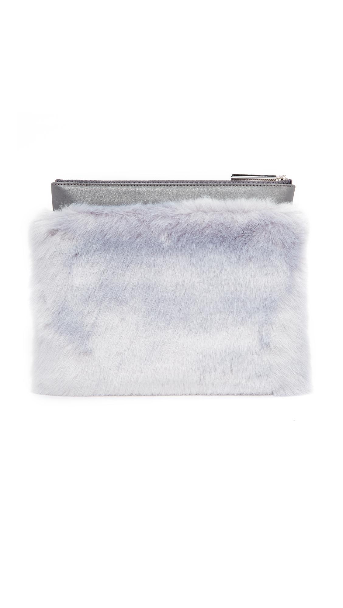 MILMA Detachable Faux Fur Clutch - Grey/Grey
