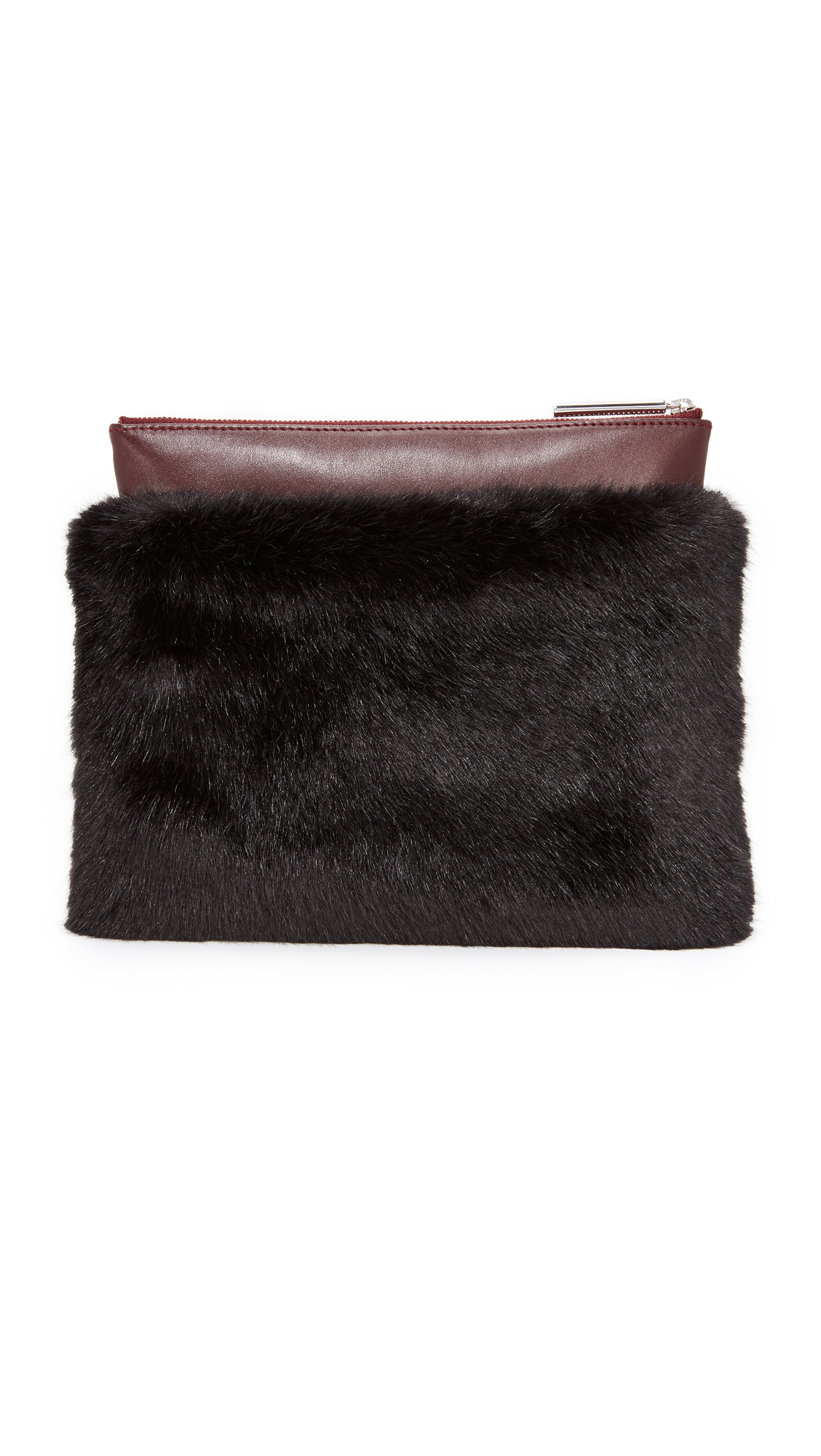 MILMA Detachable Faux Fur Clutch - Black/Burgundy