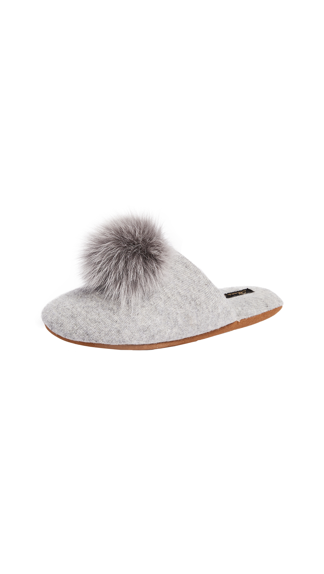 Minnie Rose Fox Pom Pom Slippers - Light Heather Grey