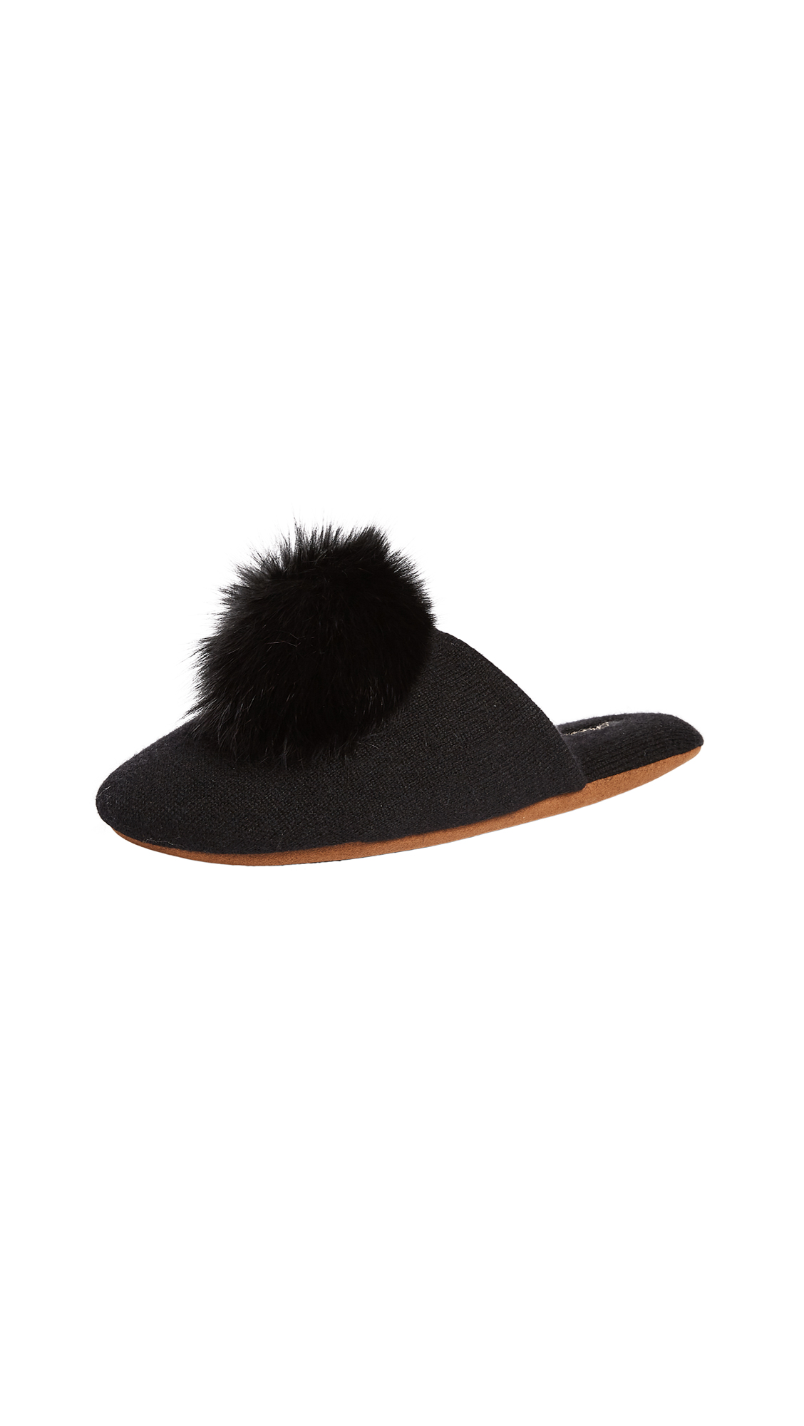 Minnie Rose Fox Pom Pom Slippers - Black