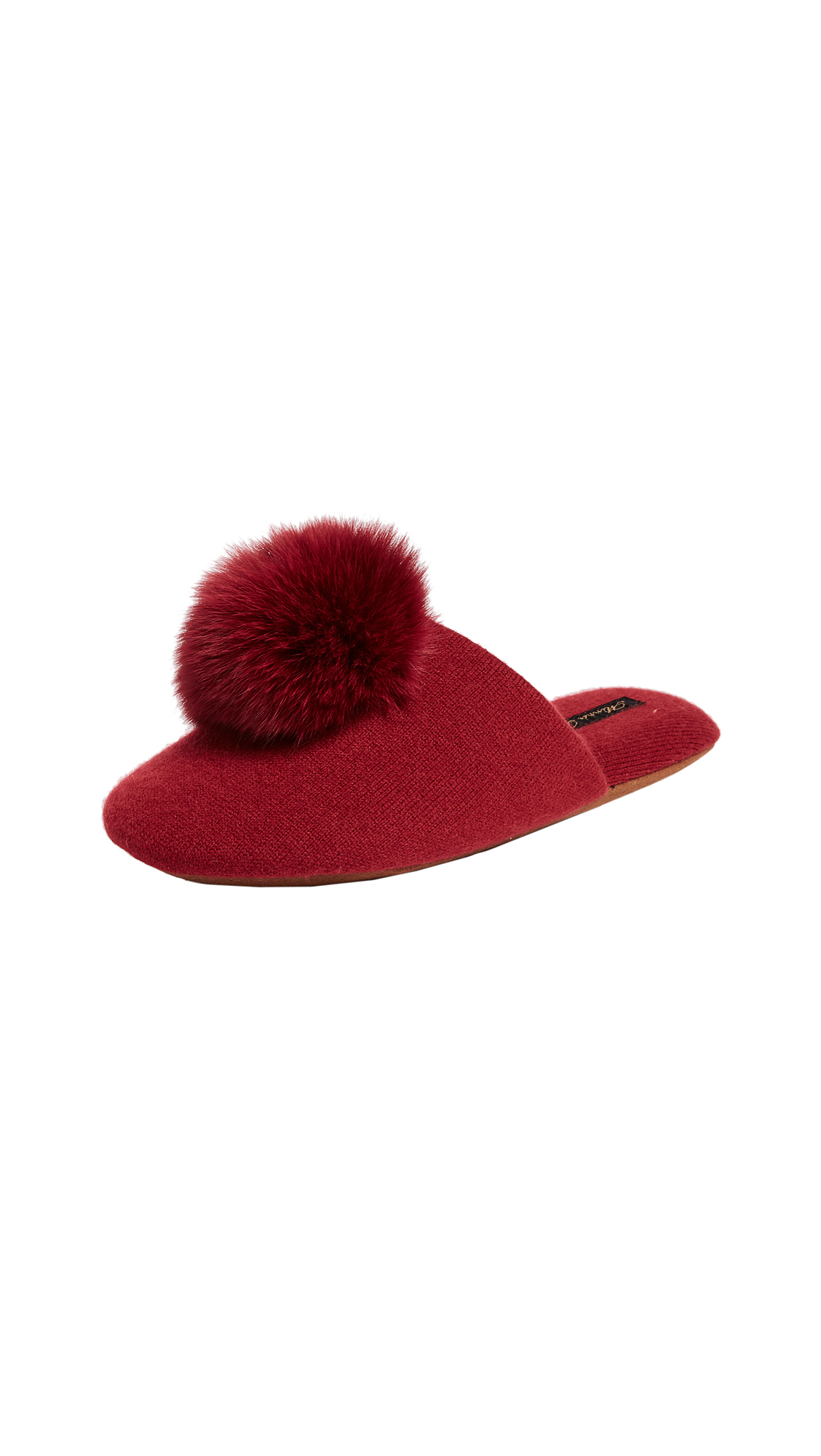 Minnie Rose Fox Pom Pom Slippers - Antique Red