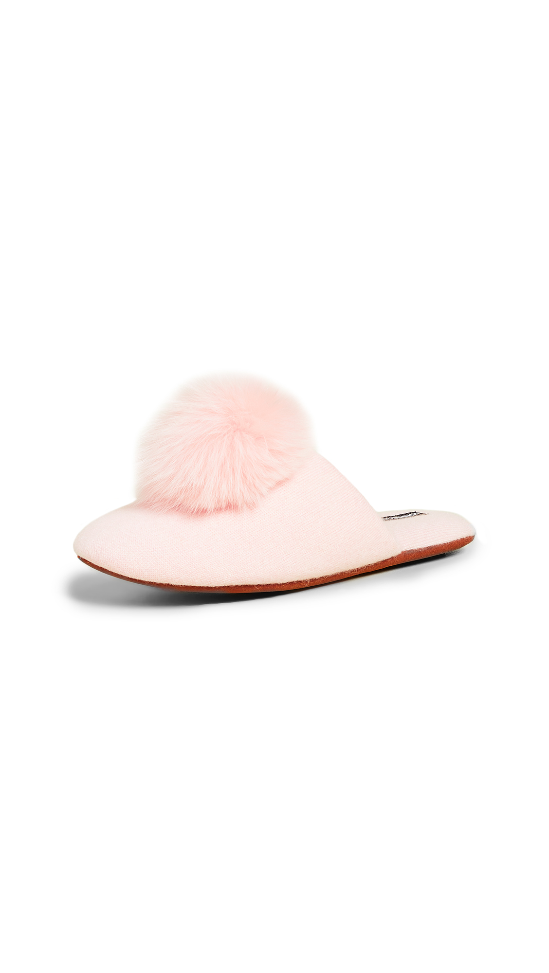 Minnie Rose Cashmere Pom Pom Slippers - Blush Pink
