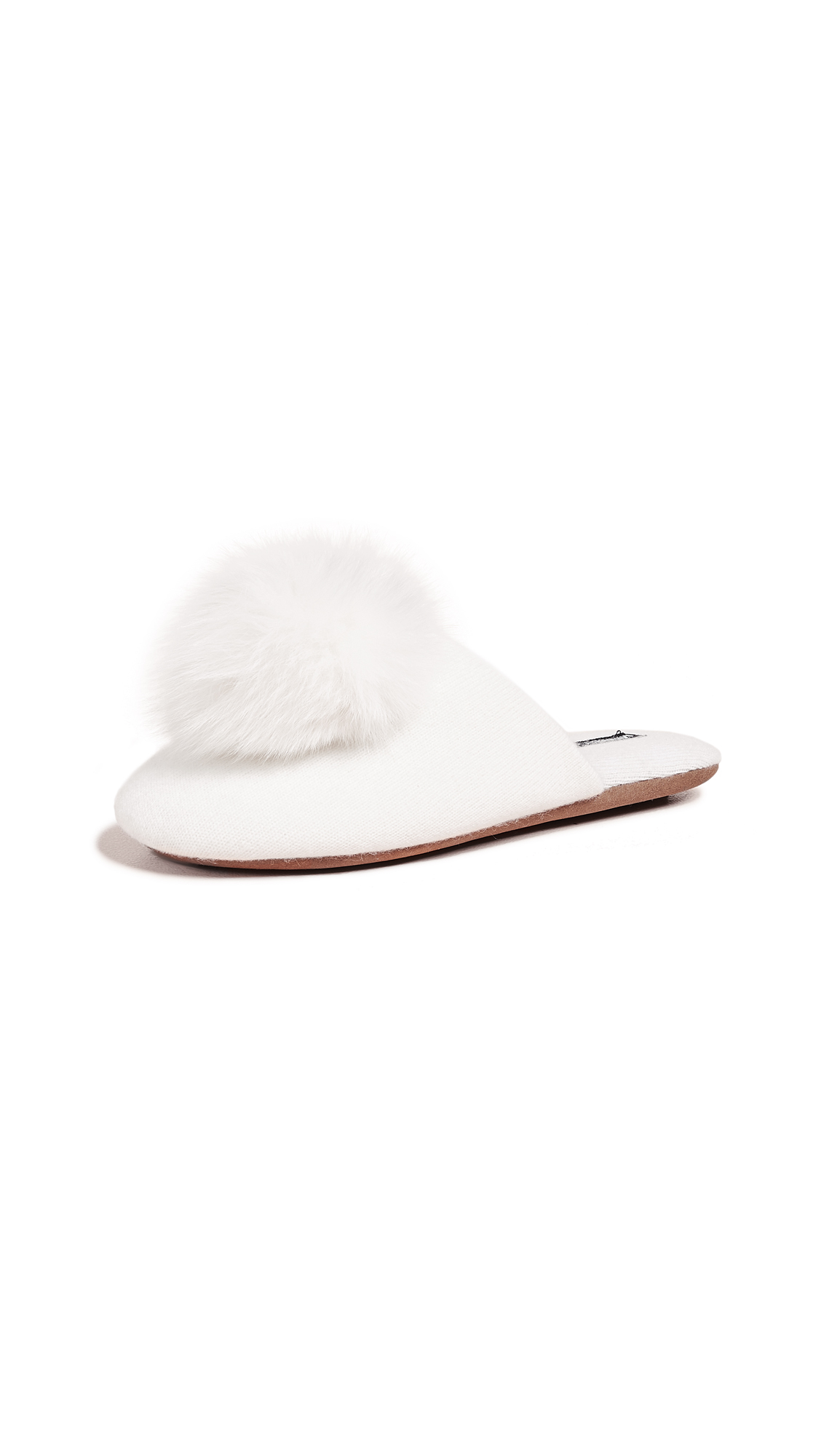Minnie Rose Cashmere Pom Pom Slippers - White