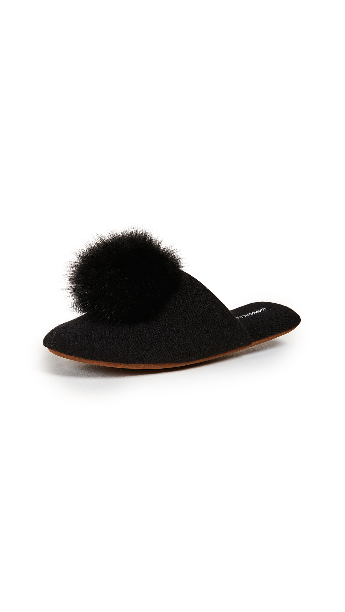 Minnie Rose Cashmere Pom Pom Slippers - Black