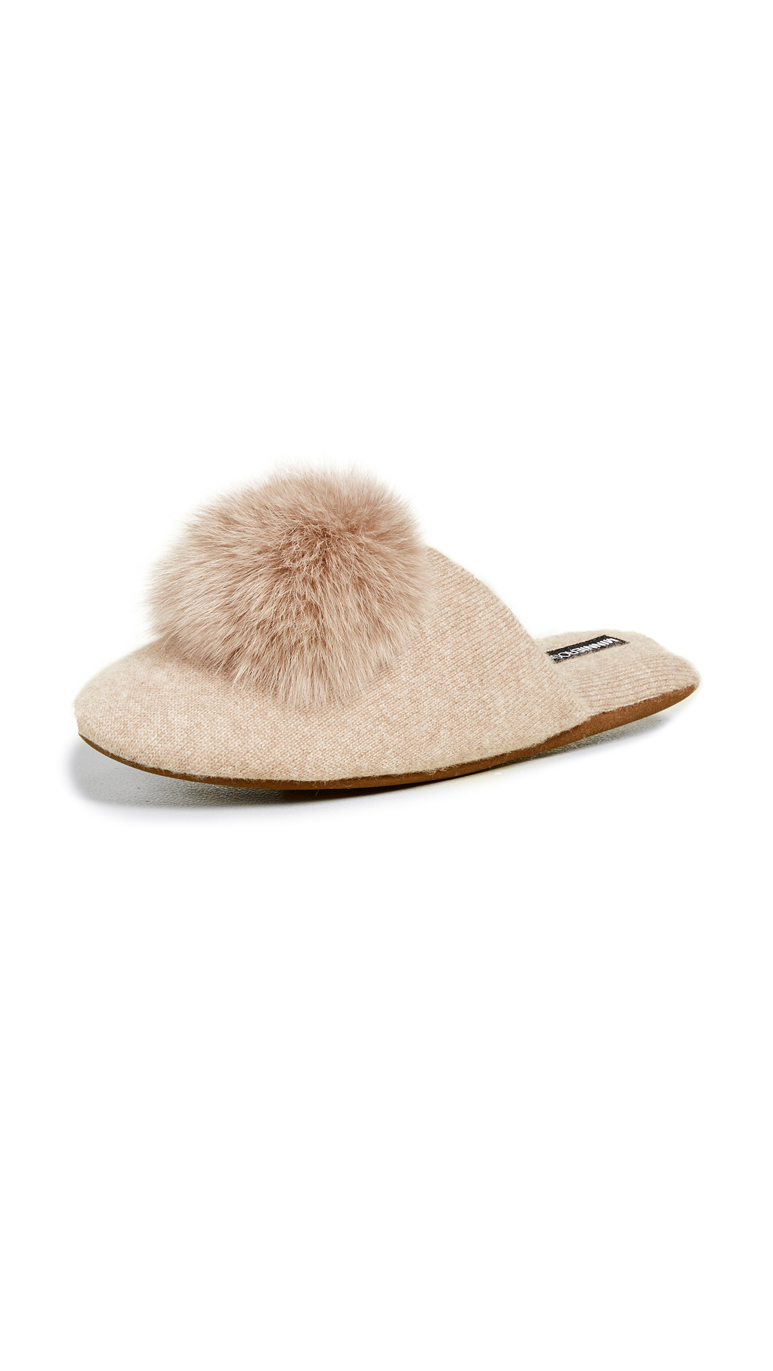 Minnie Rose Cashmere Pom Pom Slippers - Camel