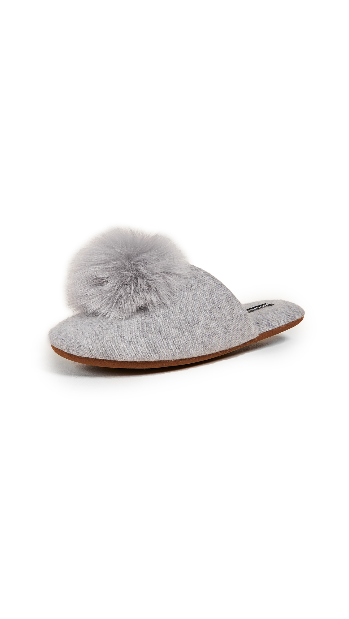 Minnie Rose Cashmere Pom Pom Slippers - Light Heather Grey