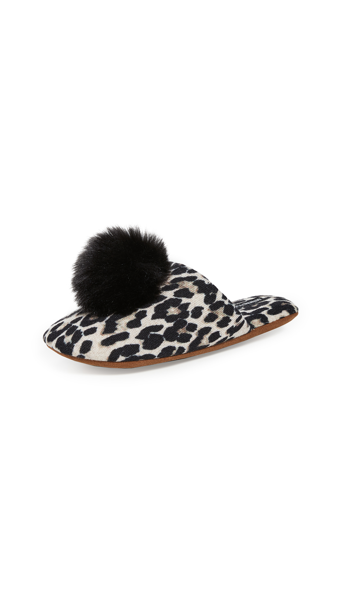 Buy Minnie Rose Cashmere Leopard Pom Pom Slippers online, shop Minnie Rose