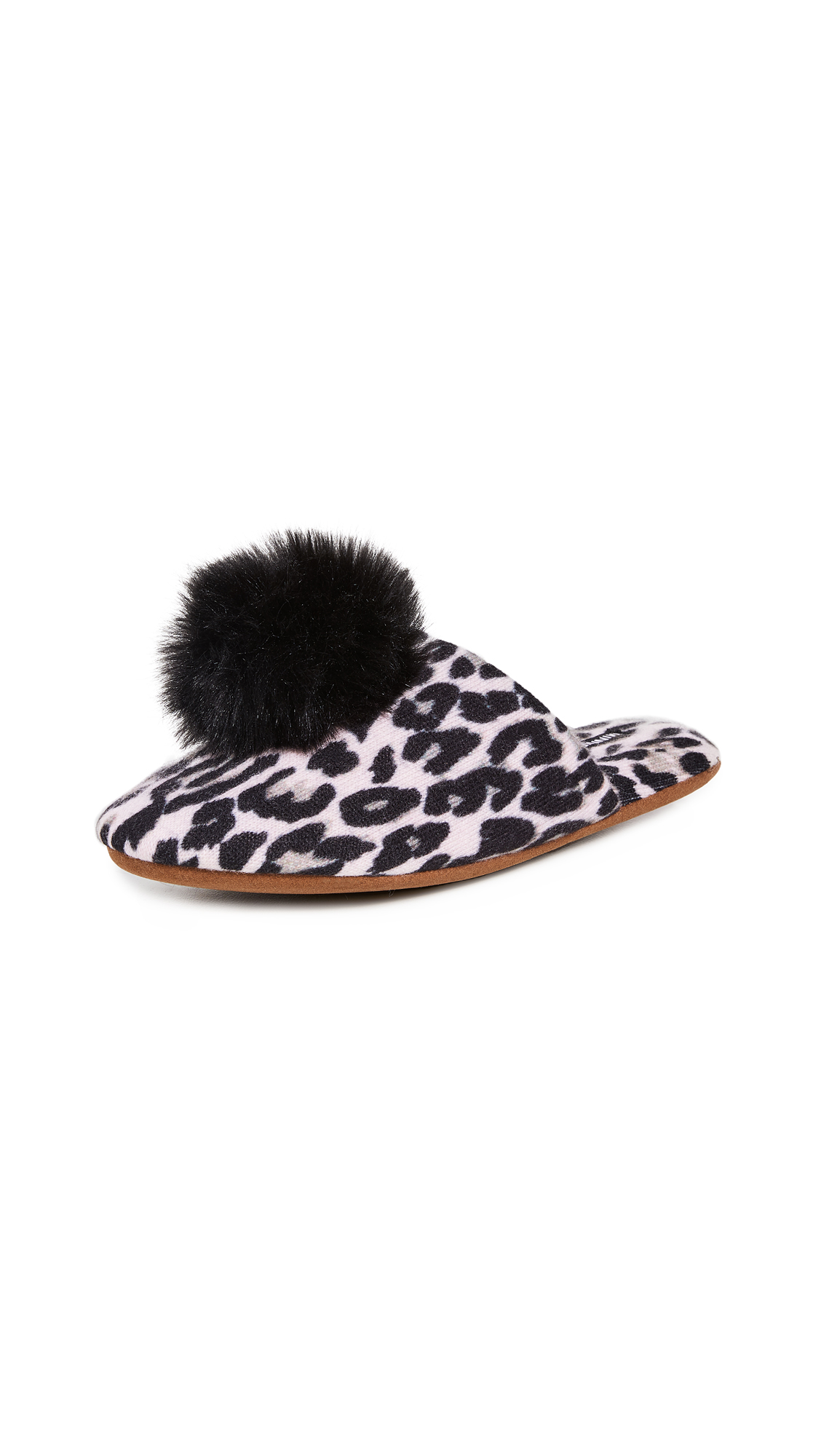Minnie Rose Leopard Cashmere Pom Pom Slippers – 60% Off Sale
