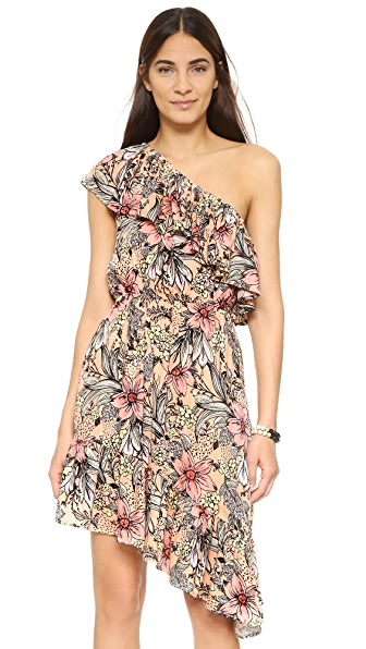 MINKPINK Wattle Wonder Ruffle One Shoulder Dress