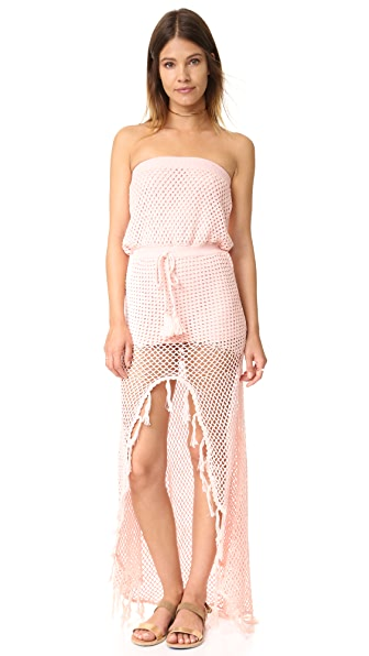 MINKPINK Woven Together Crochet Dress - Shell Pink