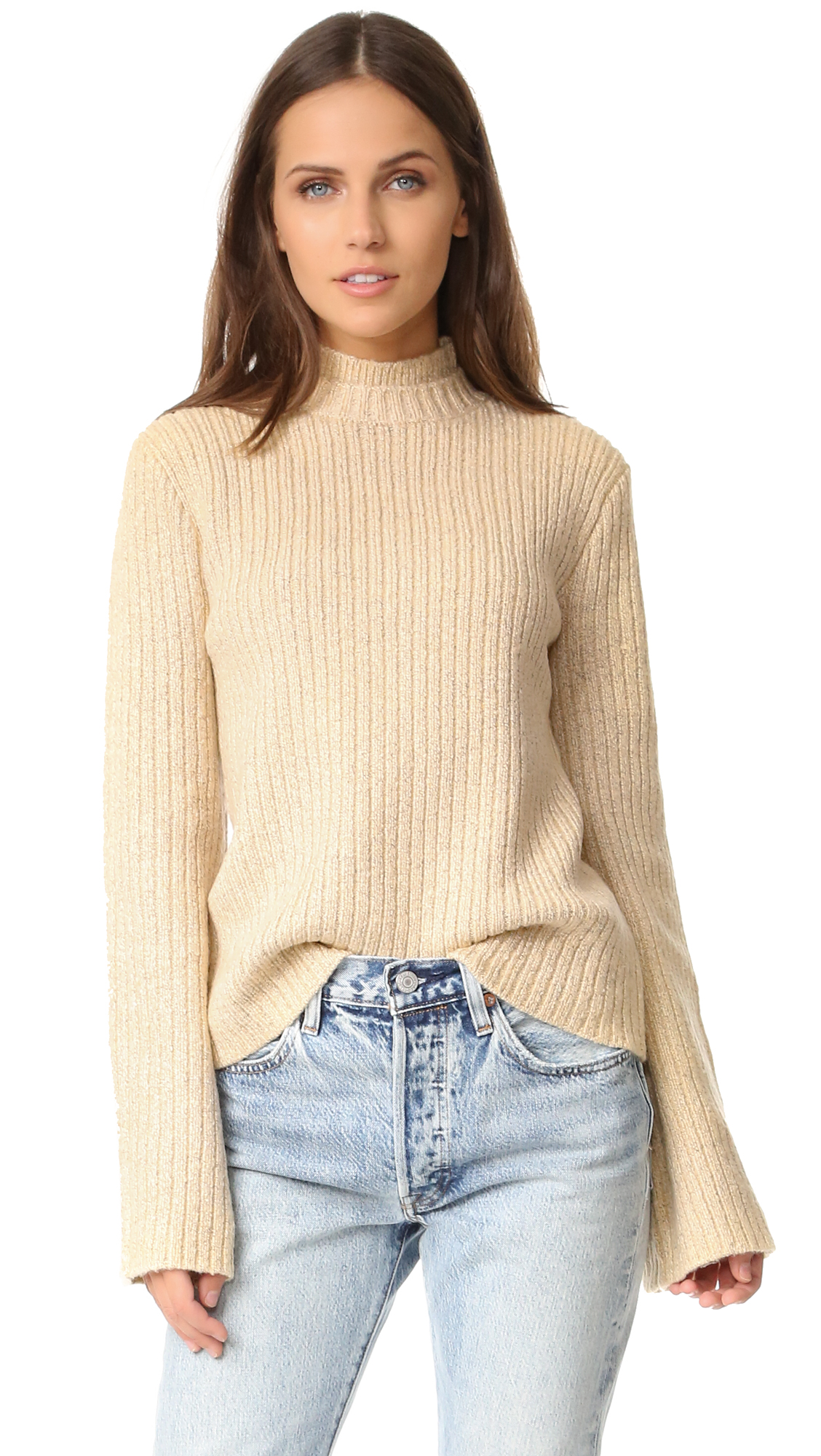 Wide sleeves add volume to this cozy, speckled MINKPINK sweater. Mock neck collar. Fabric: Ribbed knit. 100% acrylic. Dry clean. Imported, China. Measurements Length: 22.75in / 58cm, from shoulder Measurements from size S. Available sizes: L,M,S,