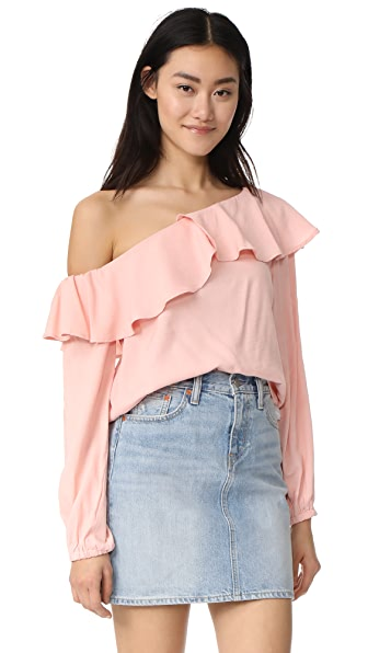 MINKPINK On the Sly One Shoulder Top - Blush