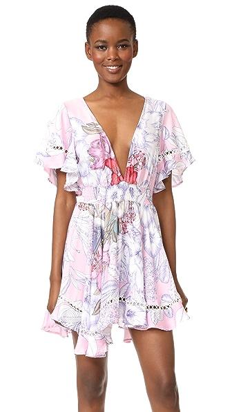 MINKPINK Tropical Punch Flutter Sleeve Dress