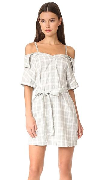 MINKPINK Gingham Off Shoulder Shirt Dress