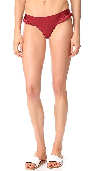 MINKPINK Rosa Ruffle Cheeky Bikini Bottoms In Burgundy