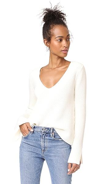 MINKPINK Mona Split Sleeve Sweater In Winter White