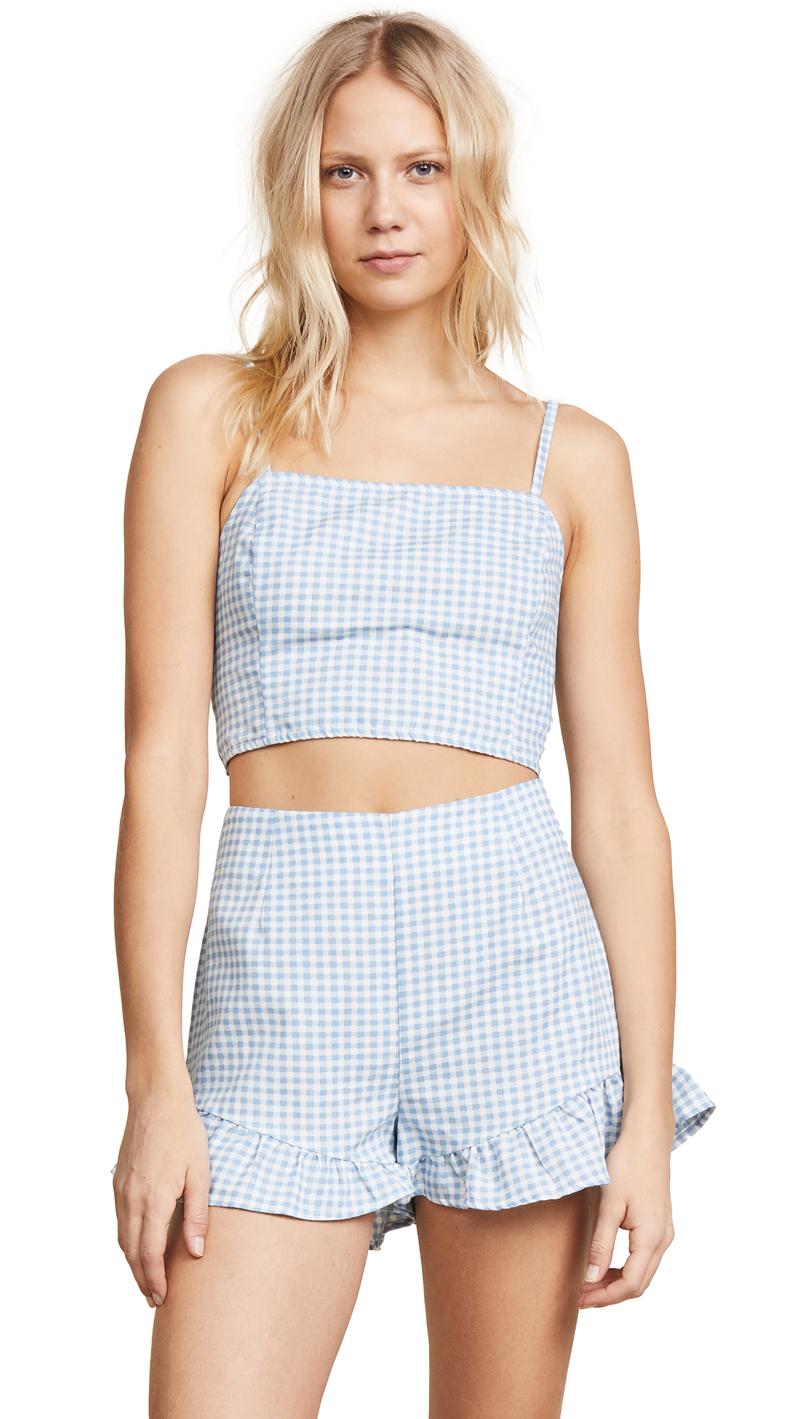 MINKPINK Toto Gingham Top in Chambray/White