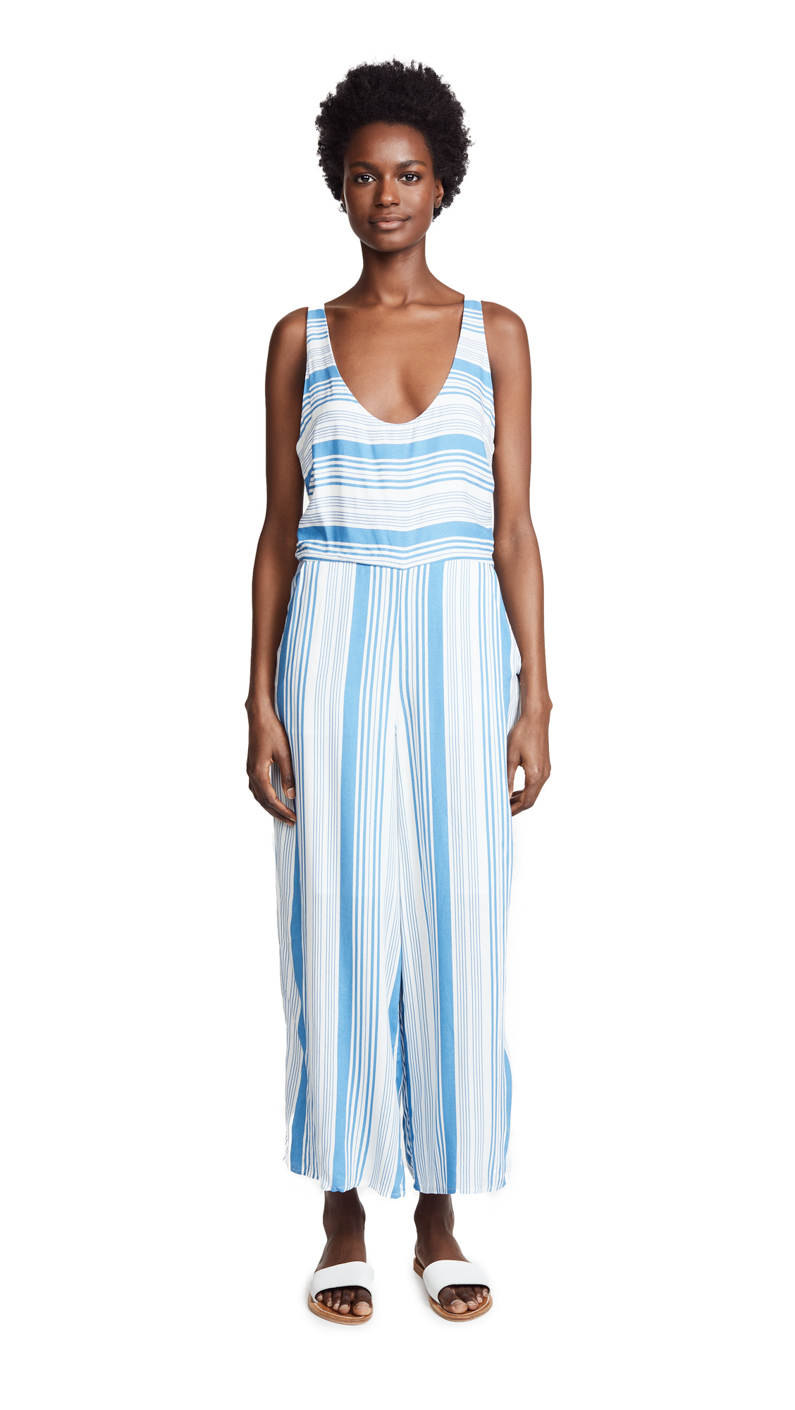 MINKPINK Stripe Jumpsuit In Washed Blue/Off White