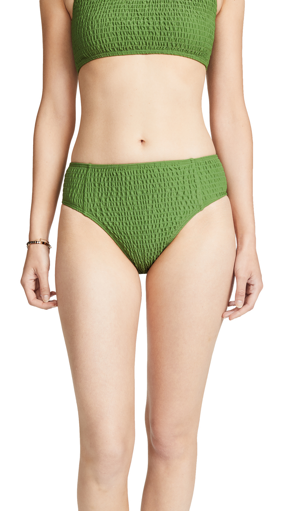MINKPINK Lush High Waist Swim Bottoms In Greenery