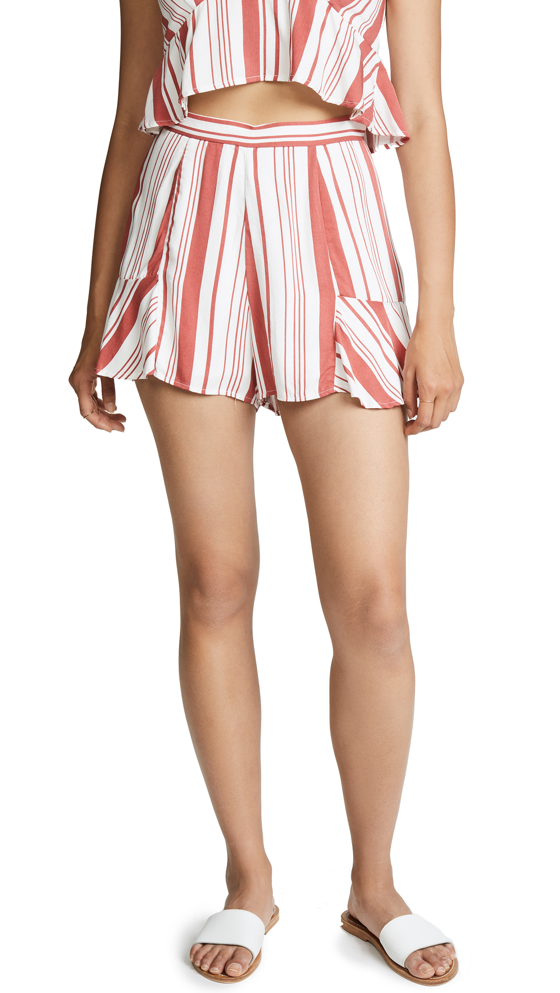 MINKPINK Stripe Fluted Shorts In Off White/Red