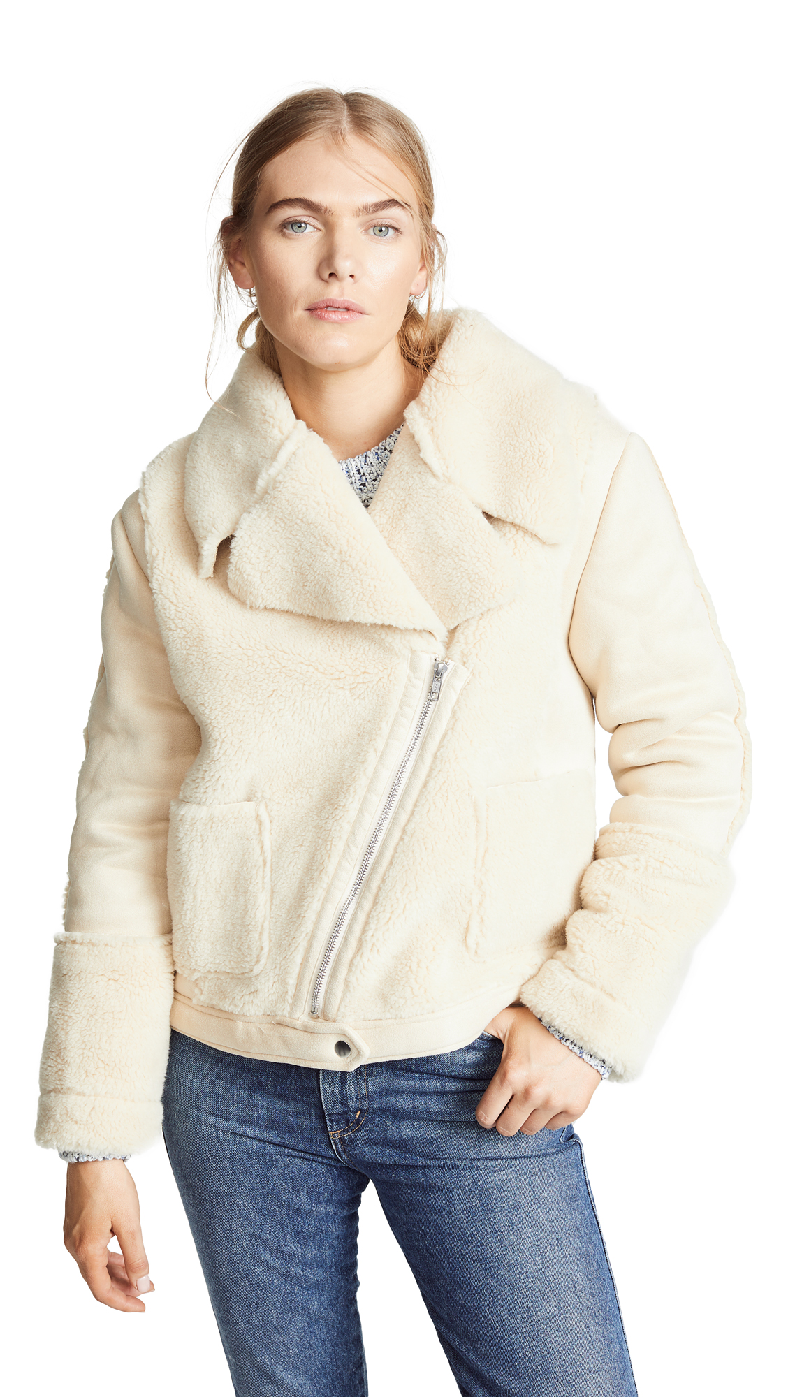 MINKPINK Let'S Go Sherpa Jacket in Cream