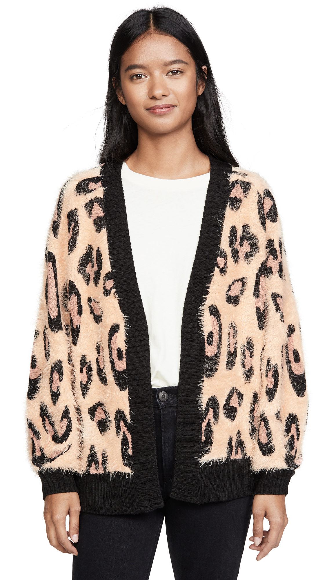Buy MINKPINK online - photo of MINKPINK Fluffy Leopard Cardigan