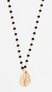 Maison Irem Black Bead Shell Gold Necklace