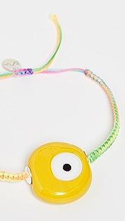 Maison Irem Yellow Evil Eye Rainbow Macrame Bracelet