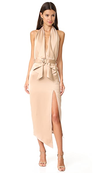 Misha Collection Carrie Dress In Warm Taupe