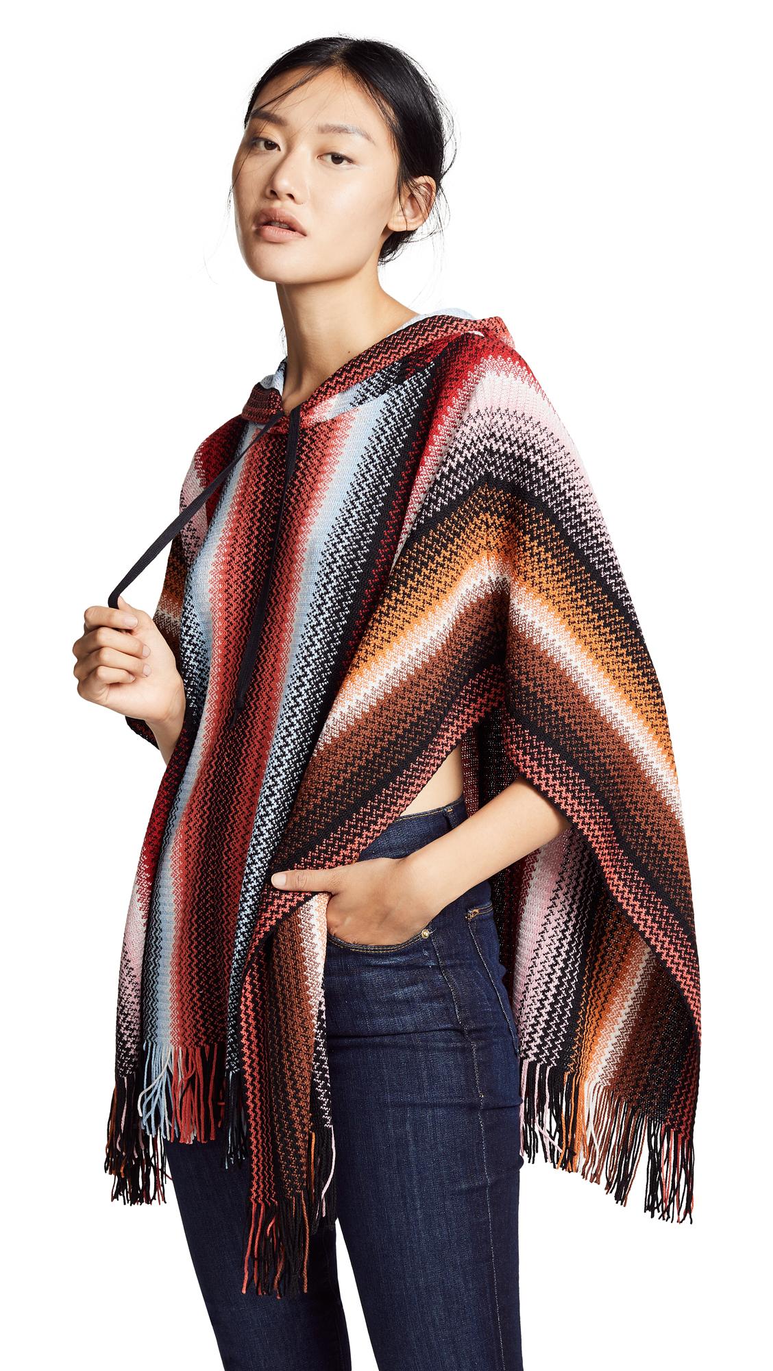 Missoni Striped Poncho Hoodie - Multi Red/Orange