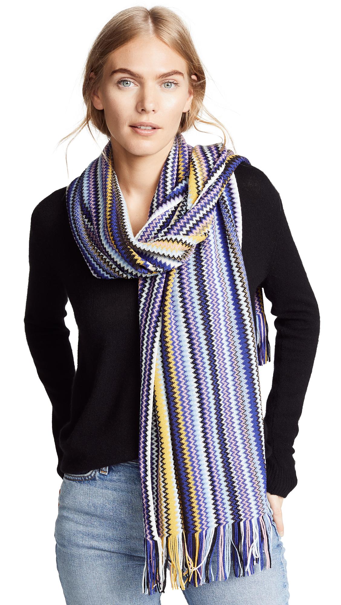 Missoni Rainbow Striped Scarf - Blue/Yellow
