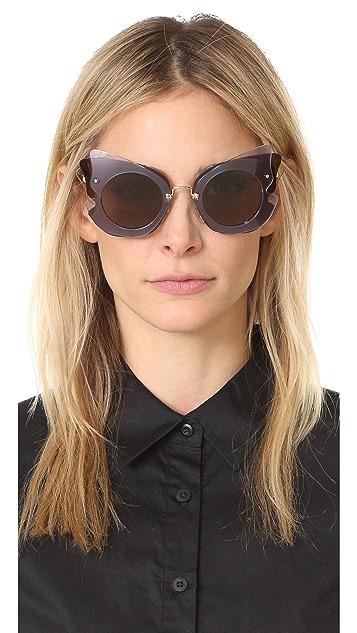 Miu Miu Солнцезащитные очки в многослойной оправе «кошачий глаз»