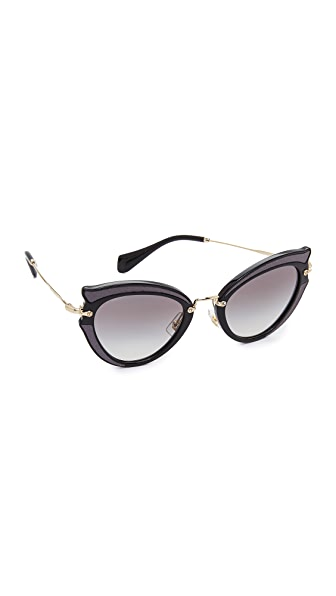 Miu Miu Satin Cat Eye Sunglasses - Black/Grey