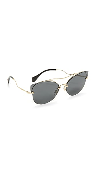 Miu Miu Brow Bar Sunglasses - Pale Gold/Grey