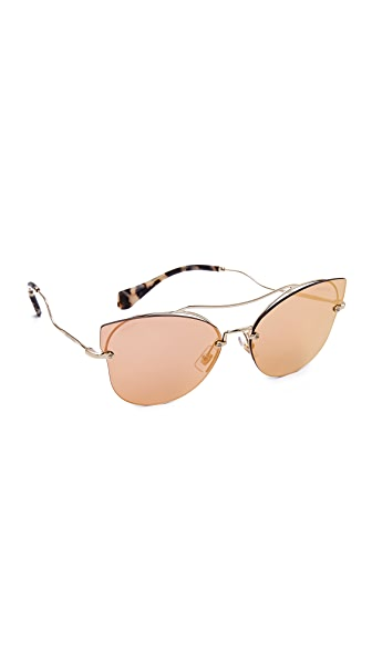 Miu Miu Brow Bar Mirrored Sunglasses - Pale Gold/Rose Gold