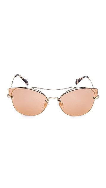 Miu Miu Brow Bar Mirrored Sunglasses