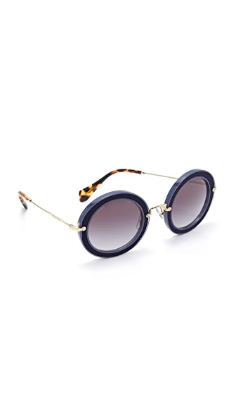 Miu Miu Round Satin Sunglasses - Blue/Grey