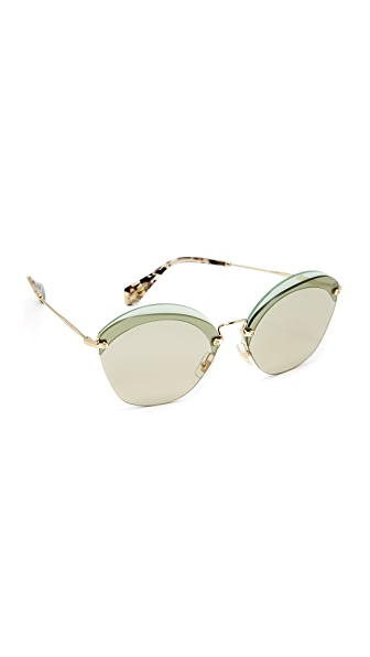 Miu Miu Overlapping Sunglasses - Transparent Green/Light Brown