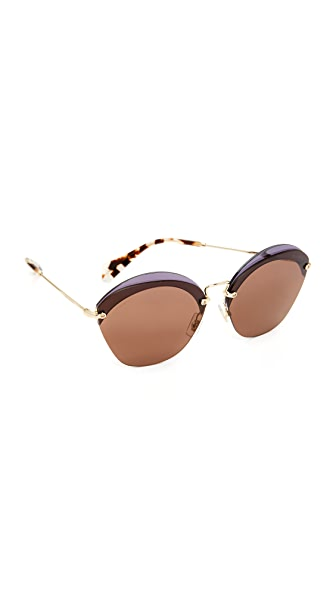 Miu Miu Overlapping Sunglasses In Transparent Violet/Brown