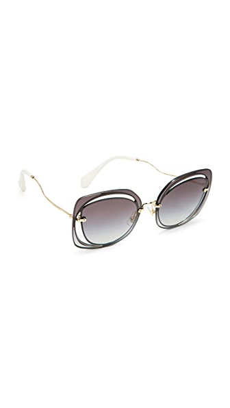 Miu Miu Cutout Square Sunglasses - Blue/Grey