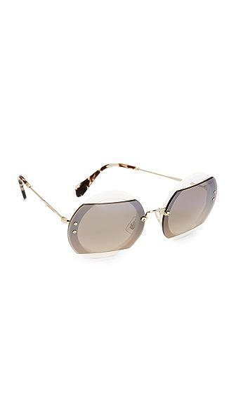 Miu Miu Reveal Sunglasses In Ivory/Brown Grey