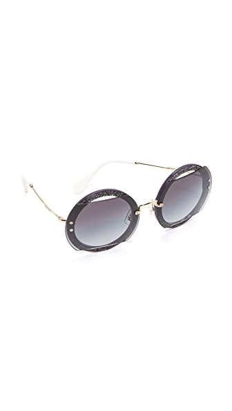 Miu Miu Glitter Reveal Sunglasses In Dark Violet/Grey Gradient