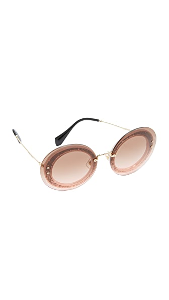 Miu Miu Reveal Glitter Sunglasses - Transparent Pink/Pink
