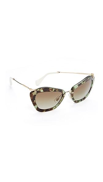 Miu Miu Cat Eye Sunglasses - Green Havana/Green Gradient