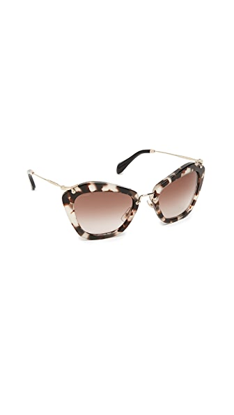 Miu Miu Cat Eye Sunglasses In Opal Ivory Havana/Brown